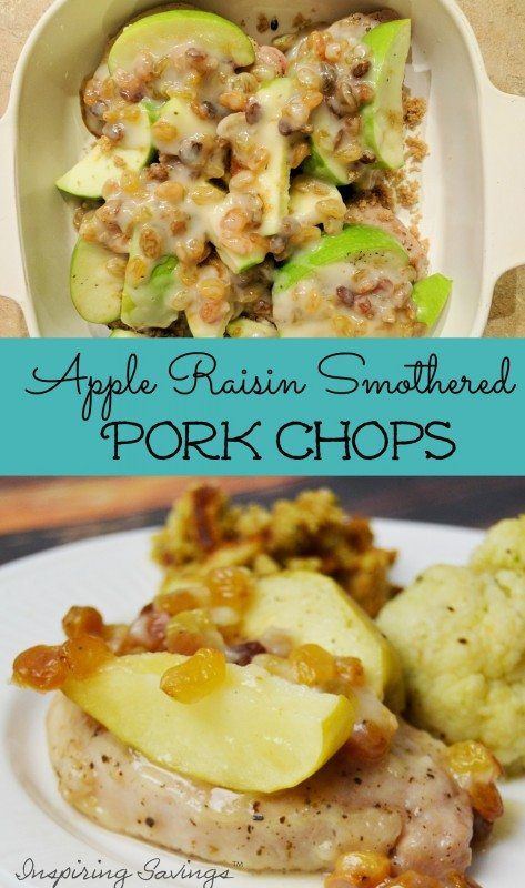 """Easy Apple Raisin Smothered Pork Chops are comfort food at its best. Not only are they very simple to make they taste""""like mama would have made them""""."""