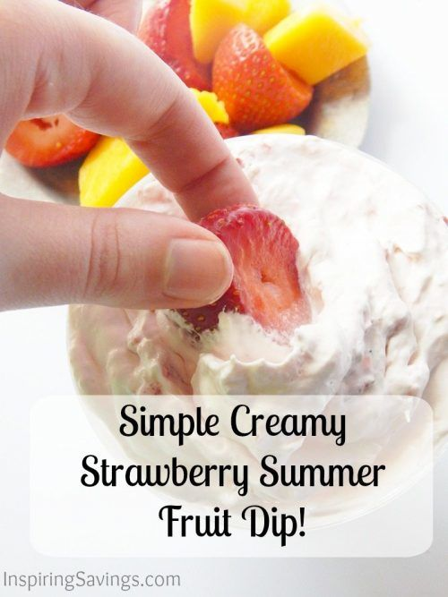 This creamy fruit dip has only four ingredients. If you want a simple dip that's the perfect complement to fruit, especially strawberries, try this one.