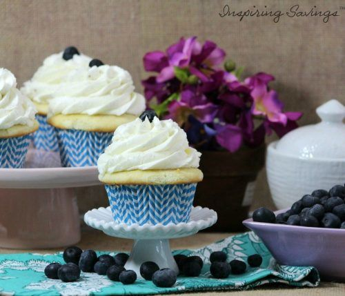 These vanilla cupcakes with fresh blueberry filling is just bursting with flavor. . Fresh blueberries are used to make the tastiest filling. Get the recipe.