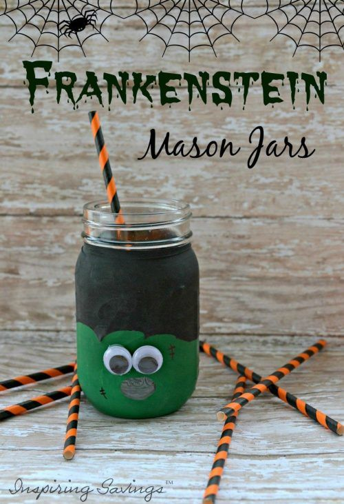 frankenstein mason jar craft diy frugal frankenstein jar beverage cups 4503