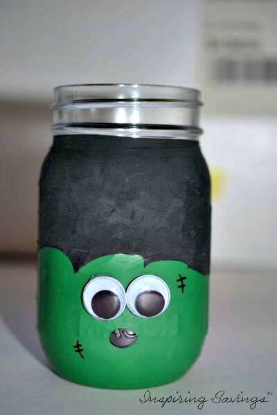 frankenstein Mason Jar - completed last step