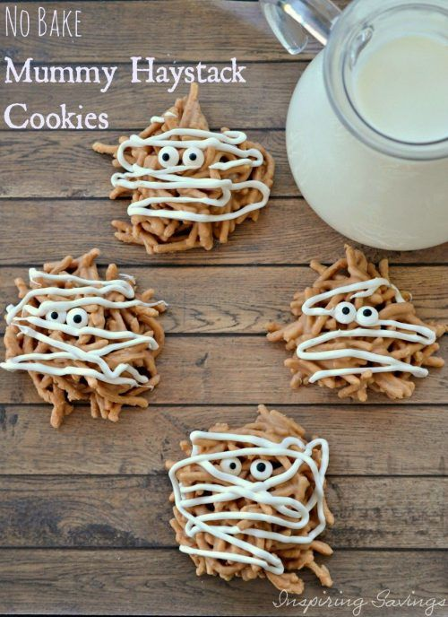 Have no Fear. These No Bake Mummy Haystack Cookies are made with Chinese noodles, butterscotch, white chocolate and optional peanut butter