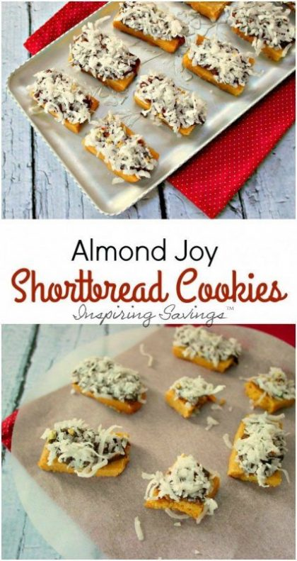 Almond Joy Cookies are a delicious option when making homemade shortbread! The classic chocolate, almond, and chocolate flavors are ideal for a sweet treat!