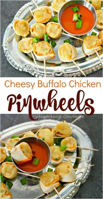 Cheesy Buffalo Chicken Pinwheels Appetizers are a delicious and easy choice that everyone will love. Serve up with extra hot sauce or classic bleu cheese dressing!