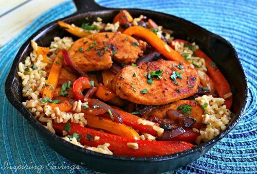 Don't miss our Fajita Style Easy Chicken And Rice Recipe! This great one-pot skillet meal is ideal for a busy weeknight! Simple to customize for your family