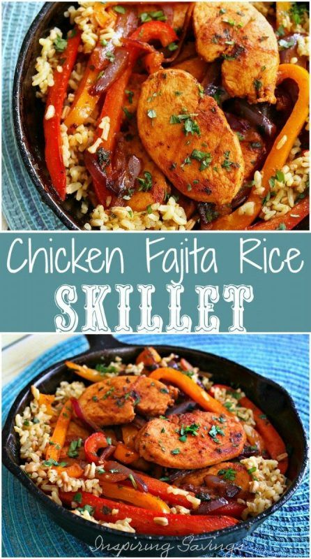 Don't miss our Fajita Style Easy Chicken And Rice Recipe! This great one-pot skillet meal is ideal for a busy weeknight! Simple to customize for your family flavor preferences!