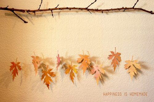 turn fall leaves into a creative garland for your home