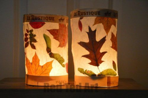 Create beautiful lanterns our of fall leaves