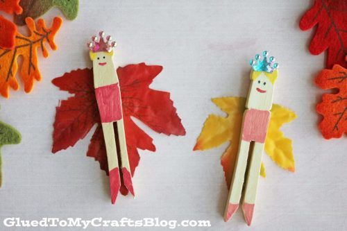 Leaves into creative craft - clothes pin fairies