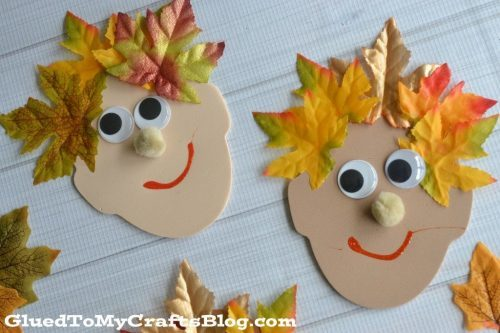 make these funny faces with hair from leaves