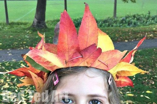 Creative leaves turned into a crown for kids
