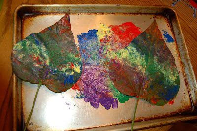 Make your very own leaf painting press out of fall leaves