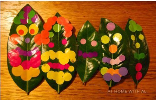 let your kids get creative with stickers and leaves
