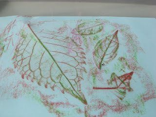 leaves from outside turn into creative leaf rubbings