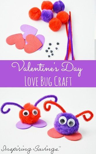 Valentine's Day Love Bug Craft For Kids will make an excellent kid-made gift idea! These are easy and fun to make with the kids.