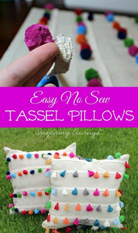 Pillows! This DIY No Sew Outdoor Tassel Pillows will add flair to your home and will not take all day to make. Here is how to make these outdoor pillows